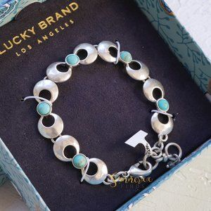 Lucky Brand Silver Circle Link Turquoise Bracelet
